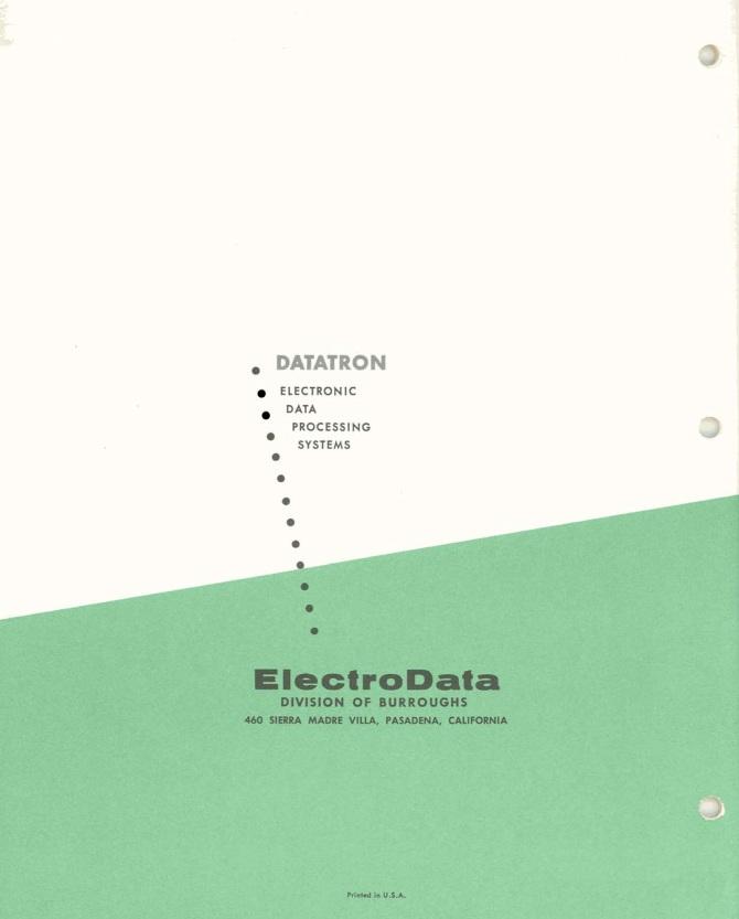 Datatron Eletronic Data Processing Systems Handbook Central Comp